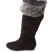 Faux Fur-Cuffed Knee-High Boots by Charlotte Russe - Black