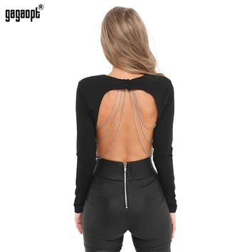 Backless Chain Crop Top O-neck
