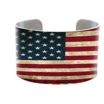 "6.50"" aged silver bracelet cuff bangle american flag 4th of july 1.50"" wide"