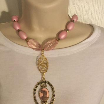 Pink and Gold Vintage Cameo Necklace \Free Shipping