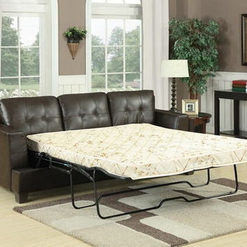 Acme 15060 Diamond brown bonded leather match queen pull out sleeper sofa