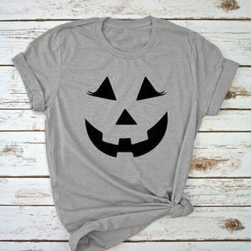 Women Halloween T-Shirt Gray Graphic Clothing Funnt Pumpkin Halloween Gift Slogan Grunge Halloween holiday Tee Drop Ship