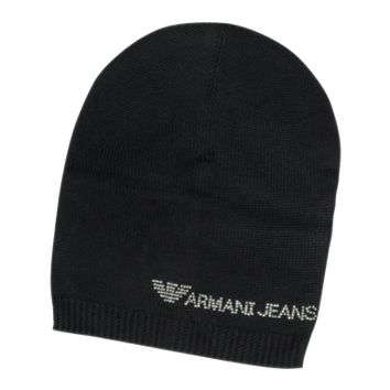 Armani Jeans Designer Women's Hats Crystal Signature Wool Blend Hat