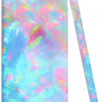 """Iphone 7 Plus Case, Iphone 8 Plus Case Colorful, A-Focus Frosted Slim Pink Blue Green Marble Pattern Series Anti-Finger Flexible TPU Cover Case for Iphone 7 Plus / Iphone 8 Plus 5.5"""" - Matte Colorful"""