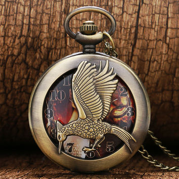 pocket watch charms antique metal necklace pendant hunger games bird  arrows bronze vintage jewelry P552