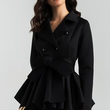 AKIRA Double Breasted Frill Hem Lightweight Scuba Cropped Trench Coat in Black