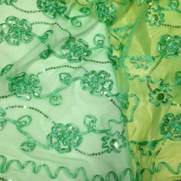 "48"" Sequins and Ribbon Embroidered Soft Mesh Fabric with Floral Design, 2 Yards"