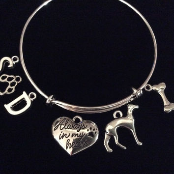Custom Memory Bangle Greyhound 3D Dog Charm Silver Expandable Adjustable Bangle Bracelet
