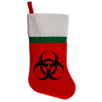 "Biohazard Sign Christmas Holiday Stocking 16"" Red/White Felt Hanging Sock Santa Stuffer Merry Gothmas"