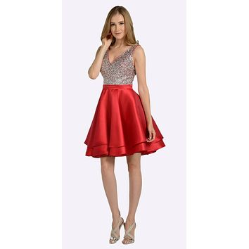 V-Neck Beaded Bodice Short Prom Dress with Pockets Red