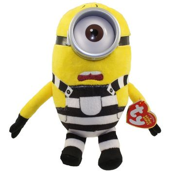"Pyoopeo Ty Beanie Babies 6"" 15cm Minions Jail Carl Plush Regular Stuffed Animal Collection Soft Doll Toy with both Tags"