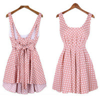 Fashion Wave Point Backless Bowknot Dress