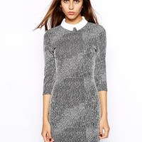 River Island Collar Textured Pencil Dress at asos.com