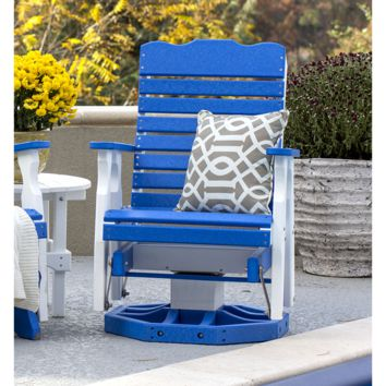 Leisure Lawns Amish Made Recycled Plastic Curve-Back Swivel Glider Chair Model #116 - Ships FREE within 2 to 3 Weeks