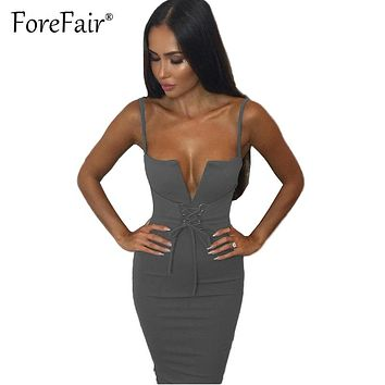 Forefair Sexy Sheath Strap Dress 2017 Summer Clubwear Party Dresses Women Lace-up V Neck Bow Slim Bodycon Dress