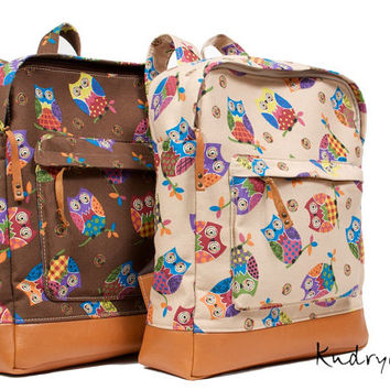 Cotton canvas backpack. Brown leather bottom. Owl print.  Big size.
