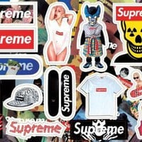 hot sell hiphop supreme waterproof PVC laptop Stickers For luggage laptop guitar Bicyc