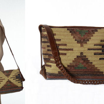 Vintage Southwestern Indian Kilim Leather Crossbody Bag 1980s 80s India Tribal Tapestry Woven Shoulder Ethnic Hippie Boho Hobo Bag