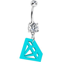 Turquoise Acrylic Diamond Cutout Belly Ring | Body Candy Body Jewelry