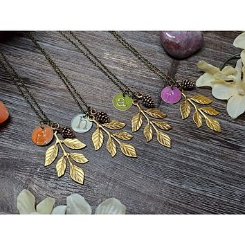 Leaf Charm and Initial Mixed Metal Necklace