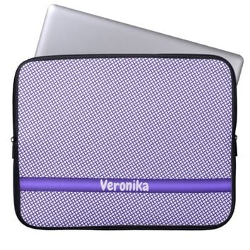 Violet small plaid pattern. Add name. Computer Sleeve