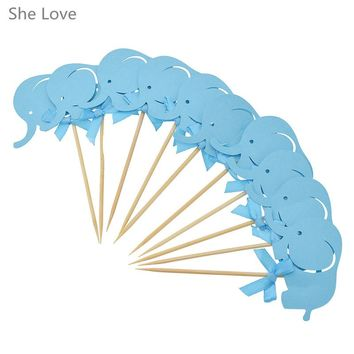 She Love 10 Pcs Cute Blue Elephant Bowknot Cake Topper Unique Cupcake Wrapper Wedding Party Birthday Decor