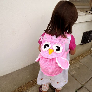 Pink Crochet Owl backpack, Owl crochet purse, Gift for girl, Pink backpack.