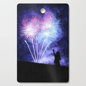 Blue and pink fireworks Cutting Board by savousepate