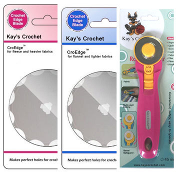 Kay's CroEdge Crochet Edge Fleece Flannel Skip Blade w 45 mm Rotary Cutter