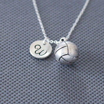 Volleyball Necklace. Personalized Jewelry. charm initial jewelry. gift for friend sister mom her No10
