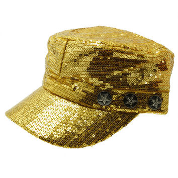 Sequin Military Style Hat Gold