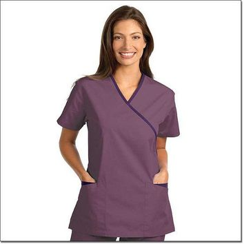 Fashion Seal Women's Fashion Poplin Cross-Over Tunic with Contrasting Trim - Plum