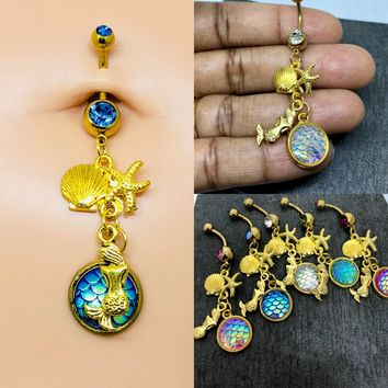 Free shipping.....14 gauge Gold plated Stainless Steel Mermaid belly button navel ring, body jewelry, 14g.....Choose a color