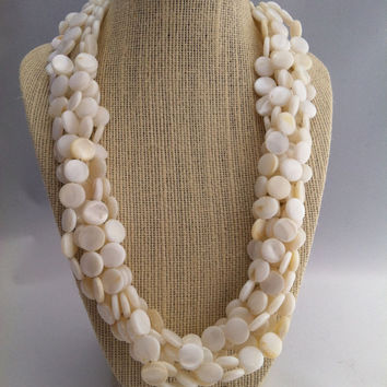 White Sands Necklace - Natural Shell Necklace - Mother of Pearl Shell 5 Strand Necklace