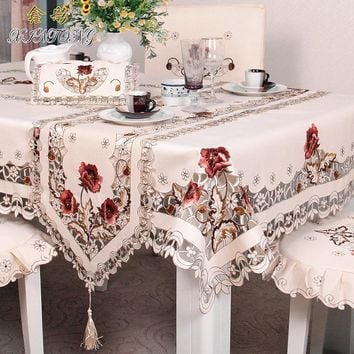 Polyester fiber tablecloth Anti-oil lace Home Decoration Multi-size Embroidered Wedding Hotel Table Cover Coffee Tea tablecloth
