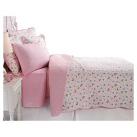 Full / Queen Cotton Blend Reversible Quilt Set Pink White Stripe Butterfly