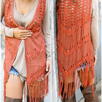 Fortune Teller Rust Open Knit Crochet Vest With Fringe Hem