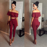New fashion Slash neck rompers womens jumpsuit sexy stretch strapless Bodysuit Flounced Skinny Party Playsuit Combinaison