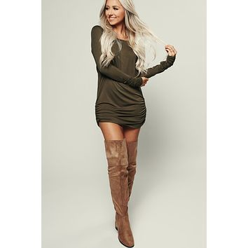 So Obvious Long Sleeve Dress (Olive)