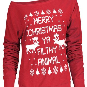 Fresh Style Letter and Snowflake Print Pullover Christmas Sweatshirt