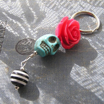 Day of the Dead Frida Inspired Blue or white Skull PINK or CORAL resin rose flower Keychain Key ring Rockabilly