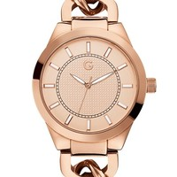 Rose Gold-Tone Chain-Link Watch | GuessFactory.com