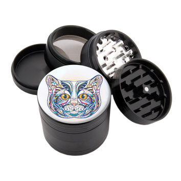 "My Colorful Cat - 2.25"" Premium Black Herb Grinder"