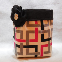 Black, Red, Gray and White Geometric Fabric Basket With Detachable Fabric Flower Pin