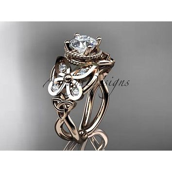 14kt rose gold diamond celtic trinity knot ,butterfly engagement ring CT7136