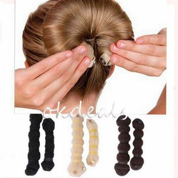 LMFONRZ 1 Set Women Girl Magic Style Hair Styling Tools Buns Braiders Curling Headwear Hair Rope Hair Band Accessories
