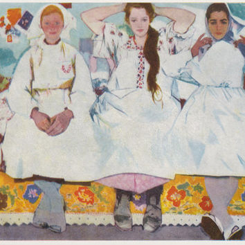 "V. Zaretsky ""Girls"" Postcard -- 1971"