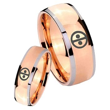 His Hers Rose Gold Dome Dead Pool Two Tone Tungsten Wedding Rings Set