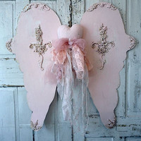 Pink angel wings with heart wall hanging huge hand cut ornate wing set w/ handmade embellished heart mannequin home decor anita spero design
