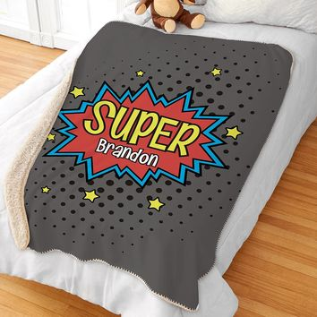 Personalized Superhero Kids Sherpa Blanket